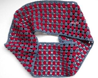 crochet collar wrap wool scarf cowl reversible grey scarf lacy neckwarmer woven shawl tube scarf snood infinity women accessory egst Niatta