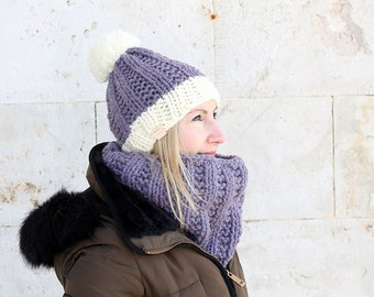 Hat and scarf set / Hat and cowl set / Winter hat / Cowl / Chunky knit cowl / Chunky knit hat