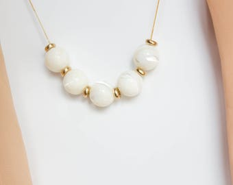 Mother of Pearl and Brass Necklace