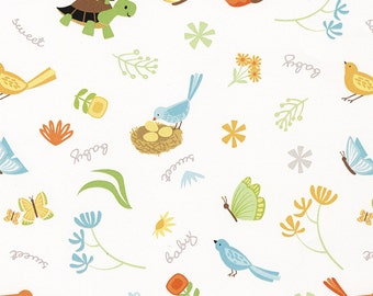 White Critter Flannel Fabric from the Sweet Meadow Flannel Collection by Arrolyn Weiderhold for Wilmington Prints