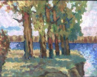 Impressionist art. Original painting. Gouache on paper. 54 x 36 cm.