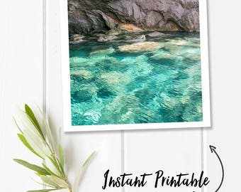 Ocean photography, digital download photography, aqua wall decor, square printable photography download, instant printable wall art, water