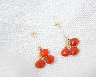 Invisible clip on earring with Carnelian & 14k gold filled *Non pierced