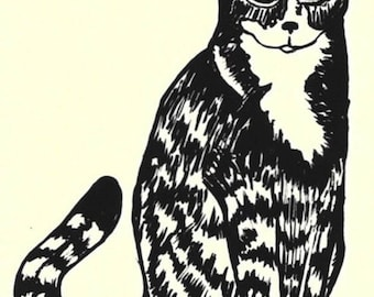 Cat Silkscreen Serigraph-Fun Animal Art-Edition of 3-8 x 12