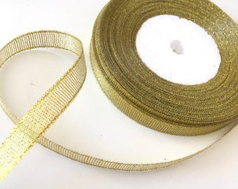 Glitter tulle Ribbon / gold / 10mm cut 50cm width