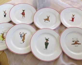 Reindeer Set of 8 Dasher Dancer Prancer Vixen Comet Cupid Donner Blitzen Salad plates 8.25 inches China Galore & Reindeer plates | Etsy