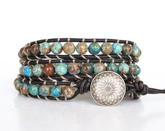 Boho Wrap Bracelet, Blue Beaded Bracelet, Blue Wrap Bracelet, Wrap Bracelet Beaded, Flower Agate Bracelet, Leather Wrap Bracelet • 3XFA023