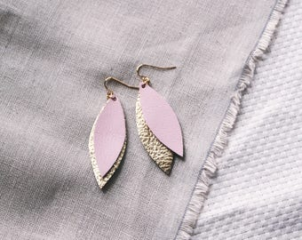 Pink & Gold Layered Leather Leaf Earrings