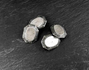 ANTIQUE Sterling Silver Victorian Cufflinks | 1880-1900 Victorian Edwardian Men's Accessories | Wedding or Gentleman's Suit Accessories