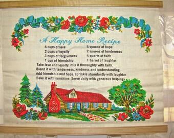 Vintage Recipe Towel. Happy Home. Tea Towel. Kitchen Wall Hanging.