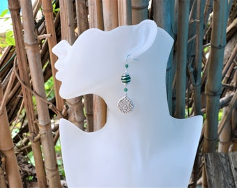 925 Silver earrings / green Agate and silver plated / stone of inner peace