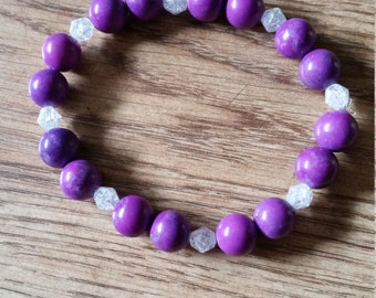 Purple and White Elasticated Bracelet
