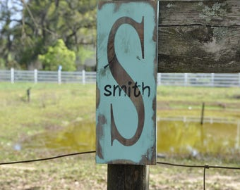 Name & Initial Rustic wood sign