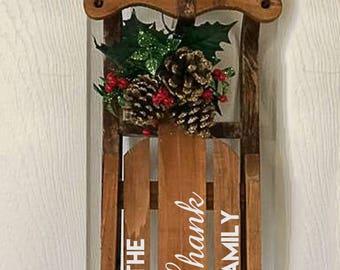 Christmas Sled, Christmas Sleigh, Monogrammed Sled, Christmas Decor, Family Christmas Gift, Monogrammed Sleigh, Christmas Door Decor