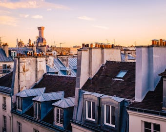 paris rooftops at sunset - photographic print