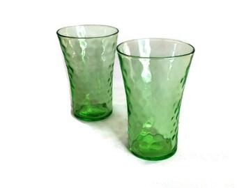 Green Raindrops Depression Glass 4 Ounce Tumblers