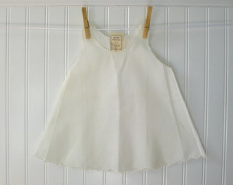 Vintage White Slip Dress, New with Original Tag, Baby Clothes, Embroidery, Size 6-12 months