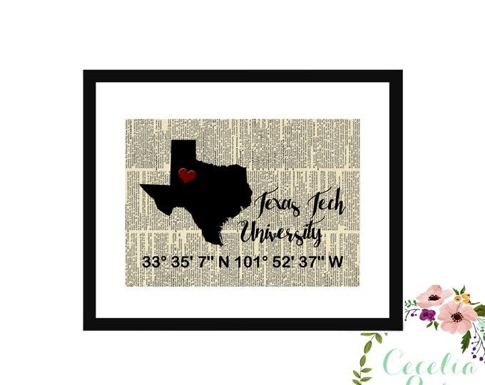 Texas Tech Custom Coordinates Vintage Book Page Art Box Frame or Print Farmhouse Style