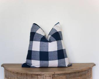 18x18 Navy Blue Buffalo Check Pillow Cover