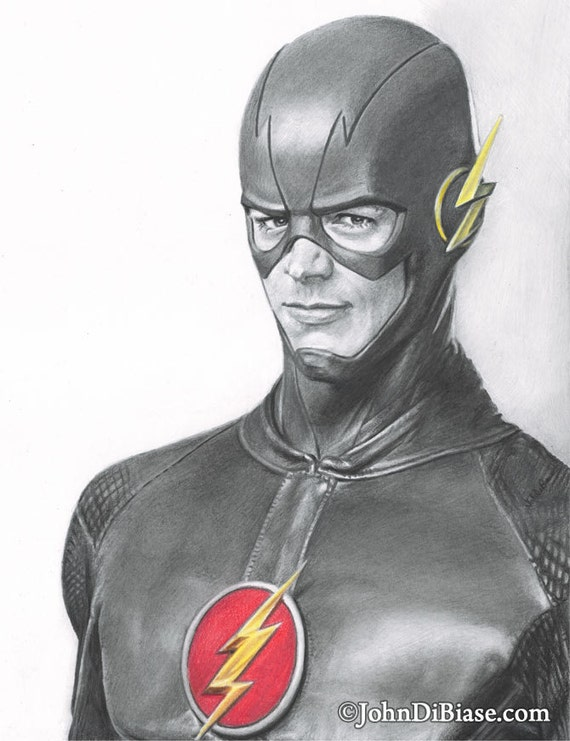 Drawing Print Of Grant Gustin As Barry Allen/The Flash In