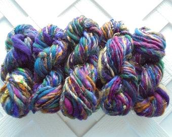 RENAISSANCE FESTIVAL, Thick and Thin Handspun Mini Skeins, Worsted-Weight Handspun, Merino Yarn, Soft Artisan Yarn, Art Yarn, Knitting Yarn