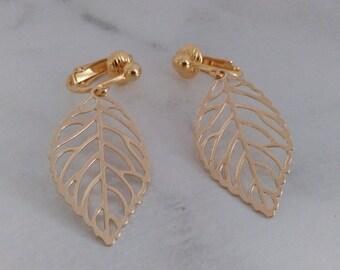 Clip On Earrings: Leaf Design Costume Clip-On Earrings, Gold Plated, Classy | Fashion Earrings, Long Drop Earrings, Clip Earrings, 471