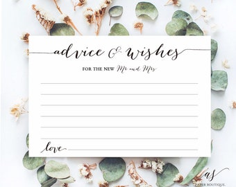 Advice Well Wishes for the New Mr and Mrs, Wedding Advice Sign, Printable Advice Sign, Wedding Advice Card, Instant Download #W01