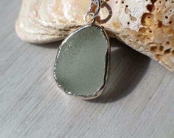 Sea Glass Pendant, Sterling Silver Necklace, Genuine English Sea Glass Pendant, Beach Glass Necklace, Handmade, Uk Seller.