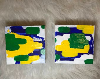 Cross Colors,  Two Small 4 x 4 in Abstract Original Acyclic Paintings in blue, green, yellow and white
