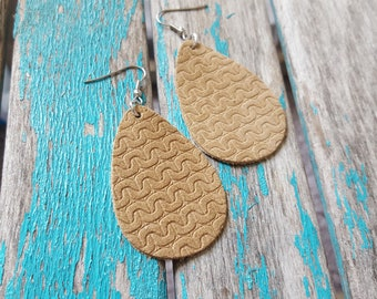Leather Earrings- Textured Tan Leather Teardrop Earrings