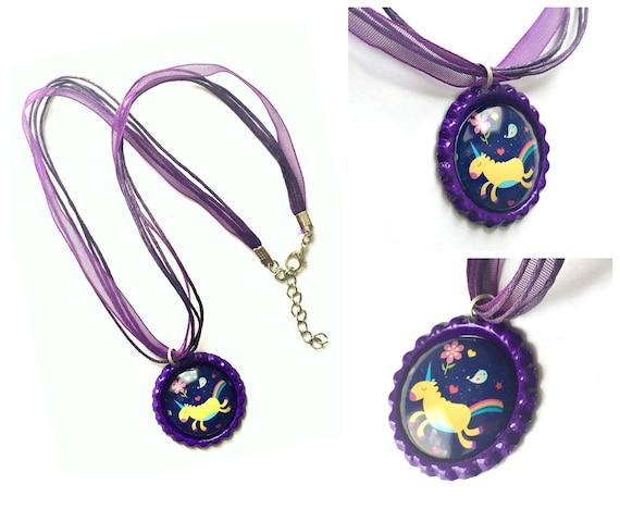Unicorn Organza Ribbon Necklace, Rainbow Unicorn Ribbon Necklace, Purple Unicorn Pendant, Unicorn Organza Ribbon Choker Necklace Pendant