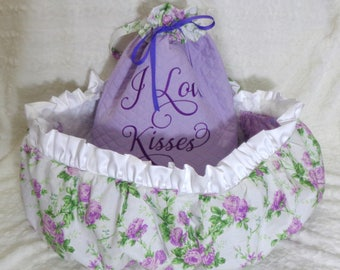 Lavender Blooms - Dog Cart Cover - Shopping Cart Cover - Dogs - Pets - Faux Fur Seat - Includes Tote - Embroidered Personalization