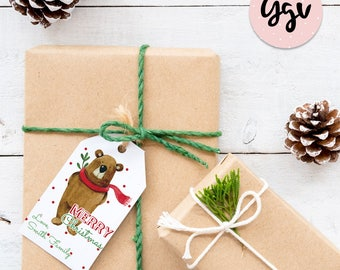 Christmas Gift Tags, Holiday Gift Tags, bear christmas tag, Printed Christmas Gift Tags, Christmas Printables, Printable Gift Tags