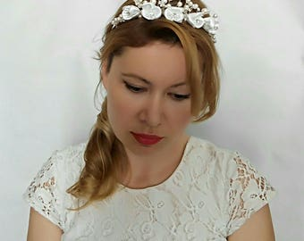 Flower Crown Wedding Flower Headband Wedding Tiara, Pearl Bridal Tiara Flower Tiara, Boho Bridal Headpiece, Flower Crown Headband Boho Tiara