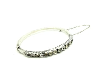 Art Deco 1920s Bracelet | Paste Silver Bracelet | Silver Bangle | Art Deco Paste Bangle | Art Deco Bangle | 1920s Paste Bangle Bracelet