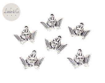 10 charms Cherub Angel silver Christmas-A30 20x16mm