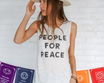 People for Peace - Ivory Muscle Graphic Tee Shirt