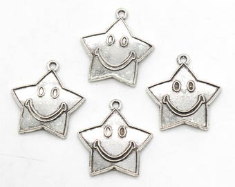 5 Pcs Smiling Star Charms Happy Star Charms  Antique Silver Tone 22x24mm - YD2245