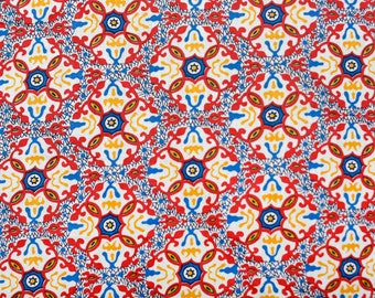 Vintage 50's cotton fabric red yellow royal blue...star/diamond pattern with squiggly hand drawn lines