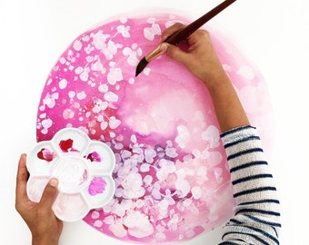 Art Print Cherry Blossom Pink Moon Nursery Decor Spring Decor Modern Art Pink Boho Floral Art Print Baby Shower Gift for Her CreativeIngrid