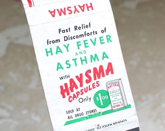 Haysma matchbook cover - hay fever and asthma matchbook cover - collectible matchbook - vintage matchbook cover - matchbook ad