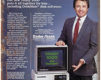 """Tandy 1000 Home Computer Radio Shack Ad 10"""" x 7"""" Reproduction Metal Sign D95"""