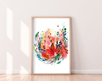 Art Print Watercolor Painting Flowers and Woman. Floral Artwork CreativeIngrid. Spring Decor Colorful Home. Orange Wall Art for Women Blooms