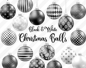 black and white christmas balls clipart christmas baubles christmas ornaments black and white gothic christmas tree decoration graphics - Black And White Christmas Tree Decorations