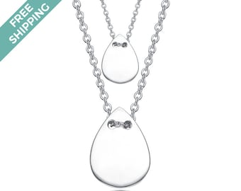 Sterling Silver Double Teardrop Necklace