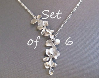 Bridesmaid Necklace Set of 6, Flower Necklace, Silver Orchid Lariat, Wedding Jewelry, Bridal Jewelry, Bridesmaids Gift, Spring Wedding