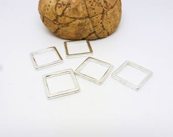 5 round connectors square geometric 13 * 13mm light Silver (8SCA41)