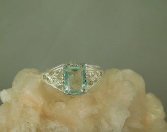 1.94 ct. Emerald Cut Aquamarine and Diamond Leaf Accents Sterling Silver Filigree