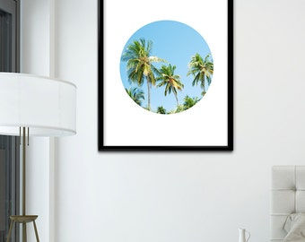 Blue Palm Tree Print, Palm Tree Wall Art, Palm Tree Wall Decor, Palm Tree Instant Download, California Beach Print, Summer Print, Blue Sky