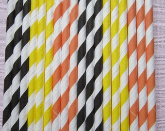 Orange, Black & Yellow ~ Paper Drinking Straws ~ Eco Friendly ~ Set of 24